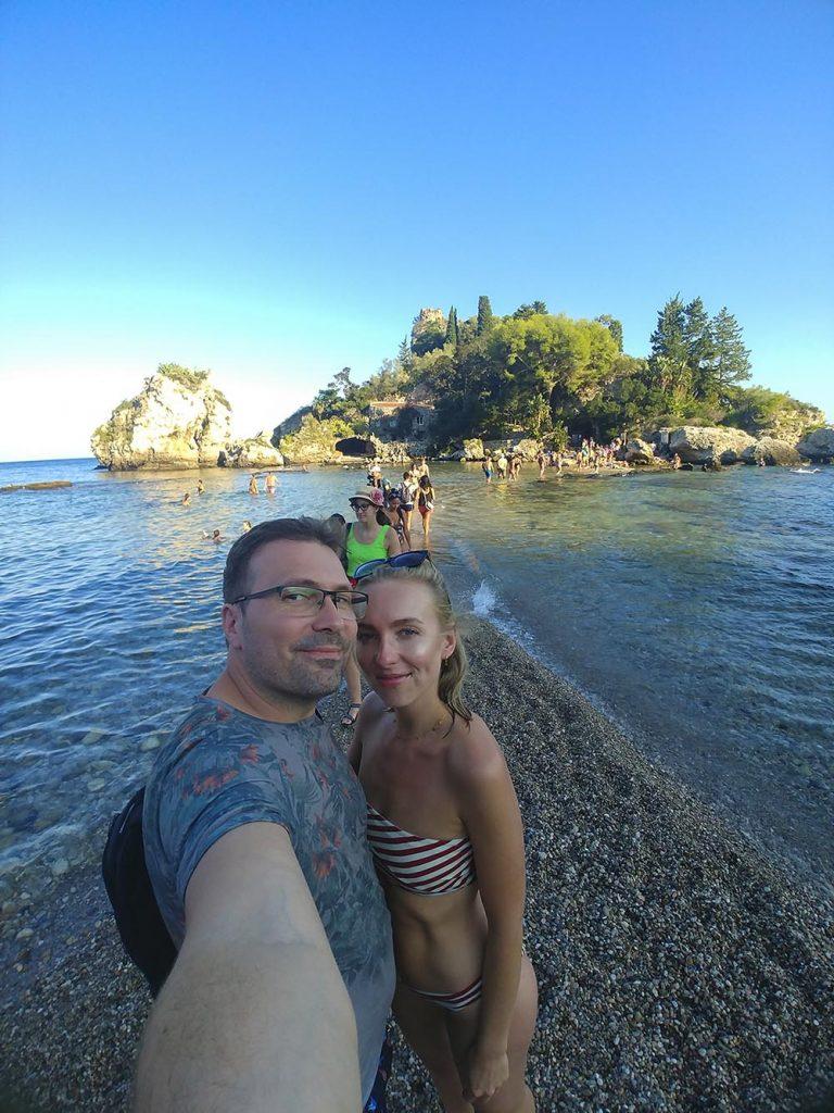 Plaża Isola Bella Taormina wrzesień