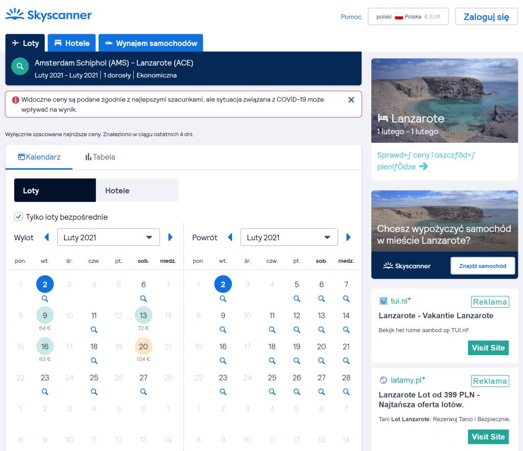 Jak kupować tanie bilety lotnicze - porownywarka lotów Skyscanner