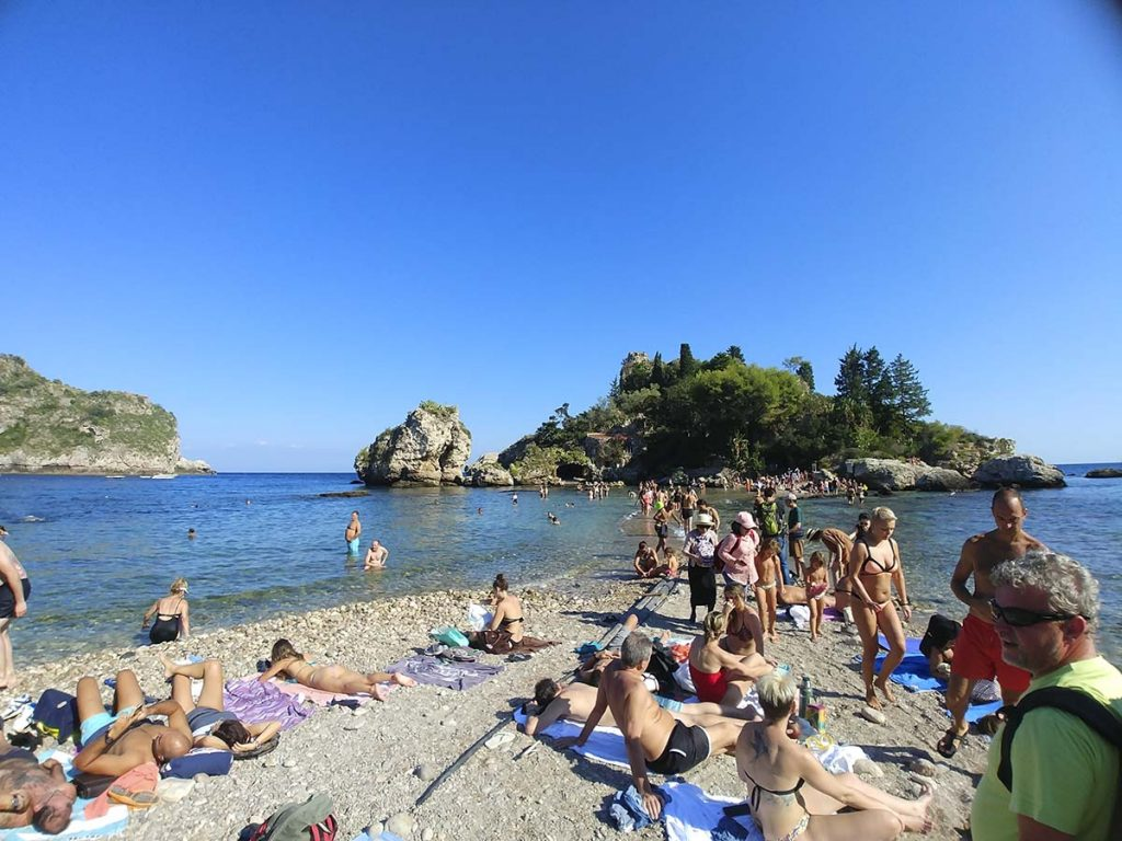 Taormina plaża Isola Bella