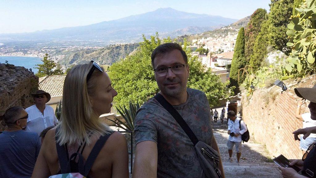 Taormina widok na Etnę