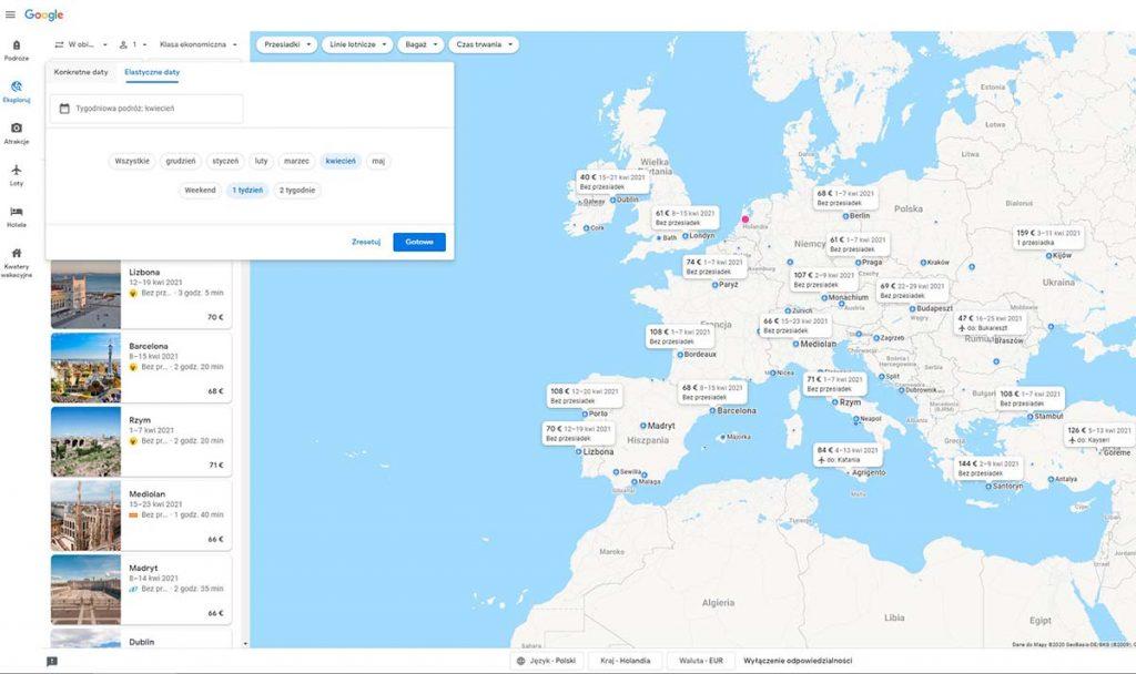 Szukanie biletów lotniczych porównywarka Google Loty