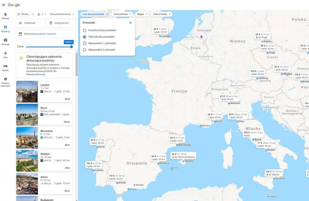 Szukanie bezpośrednich lotów za pomocą Google Loty