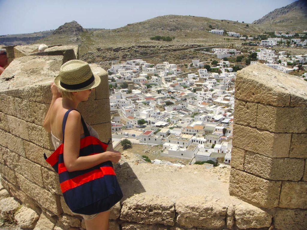 Rodos Lindos widok na miasteczko z góry