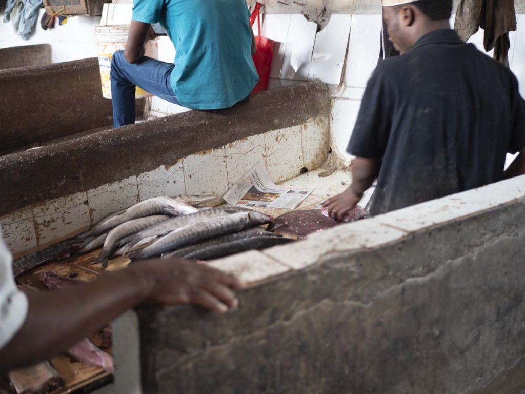 Zanzibar Stone Town targowisko rybne ryby bez lodówek na Darajani Market