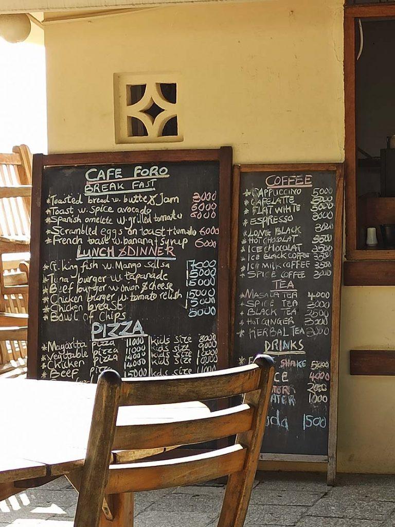 ceny jedzenia na zanzibarze restauracje Zanzibar ceny