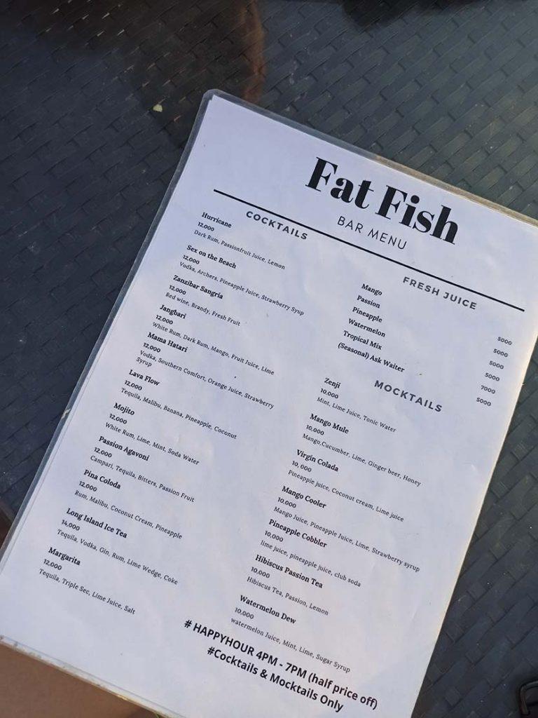 restauracje na zanzibarze ceny Zanzibar ceny