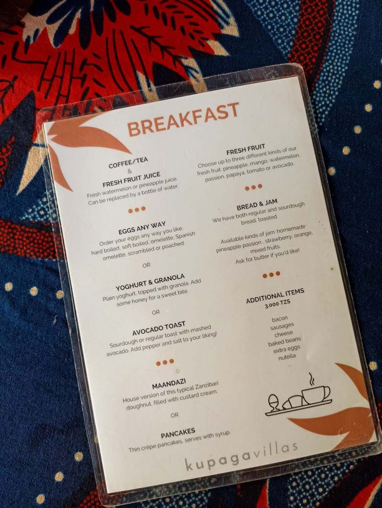 sniadania kupaga villas menu Zanzibar ceny