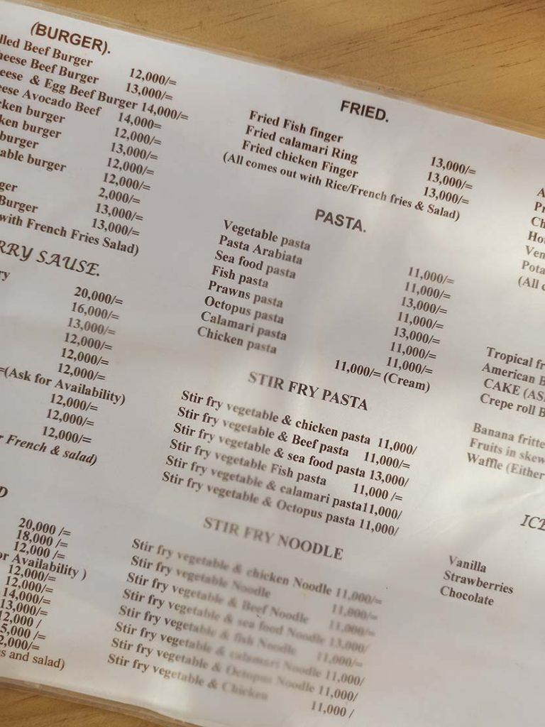 zanzibar ceny w restauracjach Zanzibar ceny